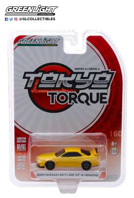 Nissan  - Skyline GTS-R 2001 yellow - 1:64 - GreenLight - 47020F - gl47020F | Tom's Modelauto's