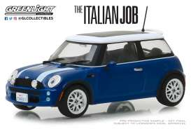 Mini  - Cooper S 2003 blue/white stripes - 1:43 - GreenLight - 86546 - gl86546 | Tom's Modelauto's