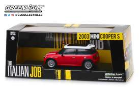 Mini  - Cooper S 2003 red/white stripes - 1:43 - GreenLight - 86547 - gl86547 | Tom's Modelauto's