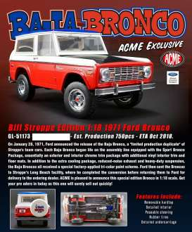 Ford  - Bronco *Bill Strope* 1972 red/white/blue/black - 1:18 - Acme Diecast - 51173 - acme51173 | Tom's Modelauto's
