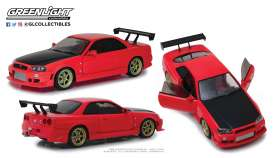 Nissan  - Skyline GT-R R34 1999 red - 1:18 - GreenLight - 19052 - gl19052 | Tom's Modelauto's