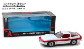 Chevrolet  - Corvette C4 *A-Team* 1984 white/red - 1:18 - GreenLight - 13532 - gl13532 | Tom's Modelauto's