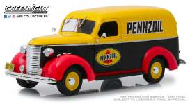 Chevrolet  - Panel Truck 1939 yellow/black/red - 1:24 - GreenLight - 85021 - gl85021 | Tom's Modelauto's