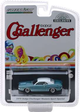 Dodge  - Challenger 1970 light blue/white - 1:64 - GreenLight - 29986 - gl29986 | Tom's Modelauto's