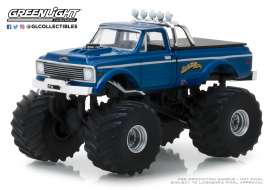 Chevrolet  - K10 Monster Truck 1970 blue - 1:64 - GreenLight - 49020B - gl49020B | Tom's Modelauto's