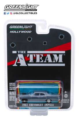 Chevrolet  - Impala Sedan *A-Team* 1967 grey-blue - 1:64 - GreenLight - 44830D - gl44830D | Tom's Modelauto's