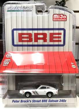 Datsun  - 240Z BRE *Peter Brock* 1971 silver/white - 1:64 - GreenLight - 51157 - gl51157 | Tom's Modelauto's