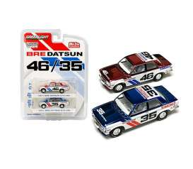 Datsun  - 510 BRE chrome/white/red/blue - 1:64 - GreenLight - 51230 - gl51230 | Toms Modelautos