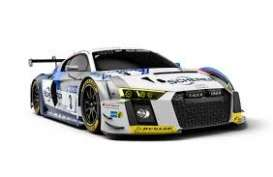 Audi  - R8 LMS 2018 white/grey/blue - 1:43 - Minichamps - 410181703 - mc410181703 | Toms Modelautos