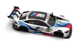 BMW  - M4 2018 white/black/blue - 1:43 - Minichamps - 410182411 - mc410182411 | Toms Modelautos