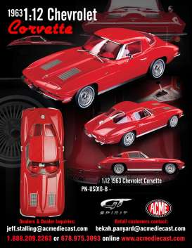 Chevrolet  - Corvette Split Window  1963 red - 1:12 - Acme Diecast - US010B - GTUS010B | Tom's Modelauto's