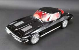 Chevrolet  - Corvette Split Window  1963 black on red - 1:12 - Acme Diecast - US010 - GTUS010 | Tom's Modelauto's