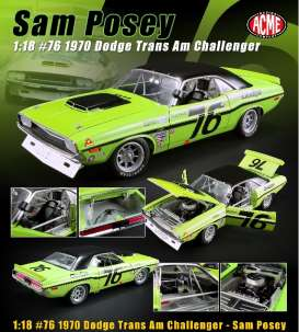 Dodge  - Challenger #76 1970 green/black - 1:18 - Acme Diecast - 1806009 - acme1806009 | Tom's Modelauto's