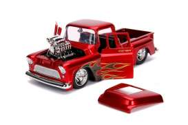 Chevrolet  - Stepside 1955 red/flames - 1:24 - Jada Toys - 30713 - jada30713r | Tom's Modelauto's