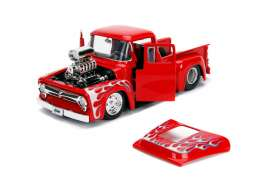 Ford  - F-100 1956 red/flames - 1:24 - Jada Toys - 30715 - jada30715r | Tom's Modelauto's