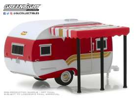 Catolac DeVille Travel Trailer  - 1959 white/red - 1:64 - GreenLight - 34060A - gl34060A | Toms Modelautos