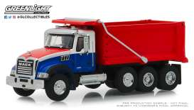 Mack  - Granite Dump 2019 red/white/blue - 1:64 - GreenLight - 45060B - gl45060B | Tom's Modelauto's