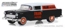 Chevrolet  - 150 Sedan Delivery 1955 black/white/orange - 1:64 - GreenLight - 41080C - gl41080C | Tom's Modelauto's
