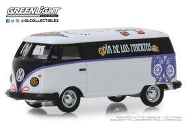 Volkswagen  - Type 2 Panel Van 2019 white/black/purple - 1:64 - GreenLight - 30040 - gl30040 | Tom's Modelauto's