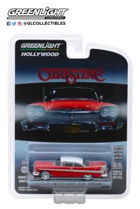 Plymouth  - Fury 1958 red/white - 1:64 - GreenLight - 44840B - gl44840B | Tom's Modelauto's