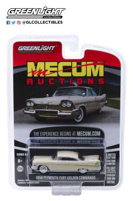 Plymouth  - Fury 1958 beige/white - 1:64 - GreenLight - 37170B - gl37170B | Tom's Modelauto's