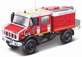 Mercedes Benz  - Unimog U5000 red/white - 1:50 - Bburago - 32017 - bura32017 | Tom's Modelauto's
