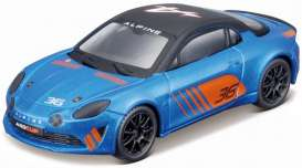 Alpine  - A110 2019 blue/orange - 1:43 - Bburago - 38037 - bura38037 | Toms Modelautos