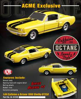Shelby  - GT350 1966 yellow/black - 1:64 - Acme Diecast - 51249 - acme51249 | Tom's Modelauto's