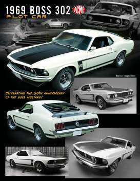 Ford  - Mustang Boss 302 *Pilot Car* 1969 white/black - 1:18 - Acme Diecast - 1801831 - acme1801831 | Tom's Modelauto's