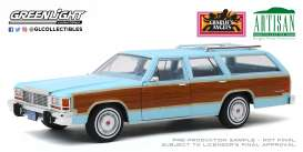 Ford  - LTD Country Squire 1979 blue/wood - 1:18 - GreenLight - 19066 - gl19066 | Toms Modelautos