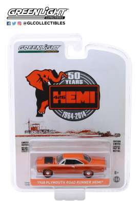 Plymouth  - Hemi Roadrunner 426 1964 red-orange - 1:64 - GreenLight - 27980C - gl27980C | Tom's Modelauto's