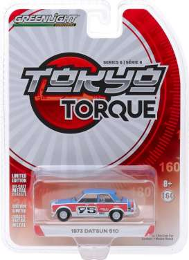 Datsun  - 510 1973 red/blue/white - 1:64 - GreenLight - 47040D - gl47040D | Tom's Modelauto's