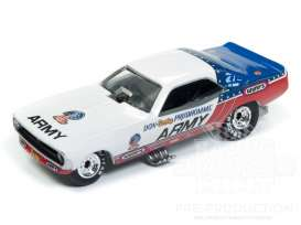 Plymouth  - Cuda 1973 white/red/blue - 1:64 - Racing Champions - RC008 - RC008-3 | Tom's Modelauto's