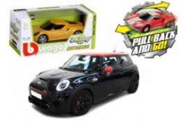 Mini Cooper - black/red - 1:43 - Bburago - 30503BK - bura30503BK | Tom's Modelauto's
