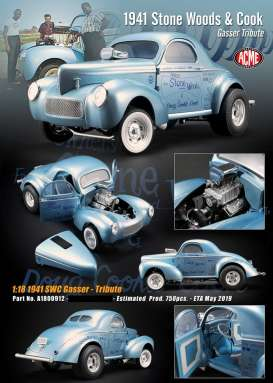Willys  - Stone Woods & Cook Gasser 1941 blue - 1:18 - Acme Diecast - 1800912 - acme1800912 | Tom's Modelauto's