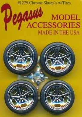 Rims & tires Wheels & tires - chrome - 1:24 - Pegasus - 1279 - pghs1279 | Tom's Modelauto's
