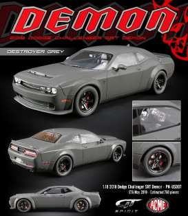 Dodge  - Challenger Demon 2018 grey - 1:18 - Acme Diecast - US007 - GTUS007 | Tom's Modelauto's
