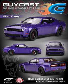 Dodge  - Challenger SRT Demon 2018 plum crazy - 1:18 - Acme Diecast - US014 - GTUS014 | Tom's Modelauto's