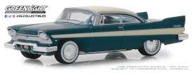 Plymouth  - Fury 1957 blue/white - 1:64 - GreenLight - 39010C - gl39010C | Tom's Modelauto's