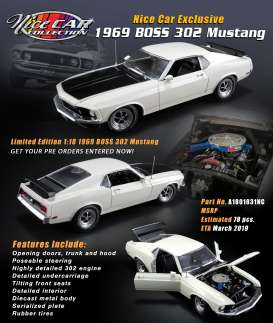 Ford  - Mustang Boss 302 1969 white/black - 1:18 - Acme Diecast - 1801831NC - acme1801831NC | Tom's Modelauto's