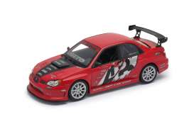 Subaru  - Impreza perfermance red/black - 1:24 - Welly - 22487S - welly22487Sr | Tom's Modelauto's