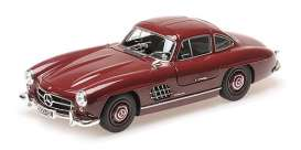 Mercedes Benz  - 300SL 1955 dark red - 1:18 - Minichamps - 110037218 - mc110037218 | Tom's Modelauto's
