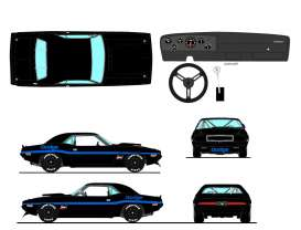 Dodge  - Challenger Trans Am 1970 black/blue - 1:18 - Acme Diecast - 1806013NC - acme1806013NC | Tom's Modelauto's