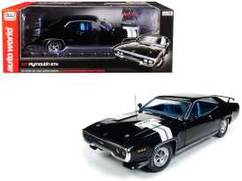Plymouth  - GTX 1971 black/white - 1:18 - Auto World - 1133 - AMM1133 | Tom's Modelauto's