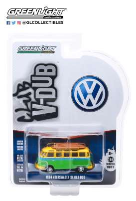 Volkswagen  - Samba 1964 green/yellow - 1:64 - GreenLight - 29960B - gl29960B | Tom's Modelauto's