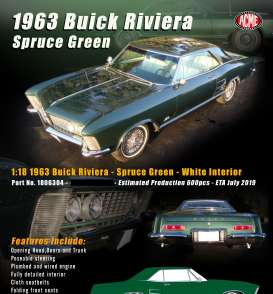 Buick  - Riviera 1963 spruce green - 1:18 - Acme Diecast - 1806304 - Acme1806304 | Tom's Modelauto's