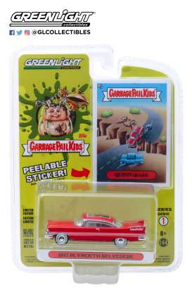 Plymouth  - Belvedere 1957 red - 1:64 - GreenLight - 54010A - gl54010A | Tom's Modelauto's