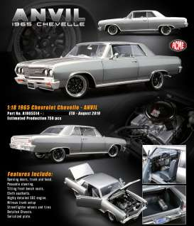 Chevrolet  - Chevelle *ANVIL* 1970 grey - 1:18 - Acme Diecast - 1805514 - acme1805514 | Tom's Modelauto's