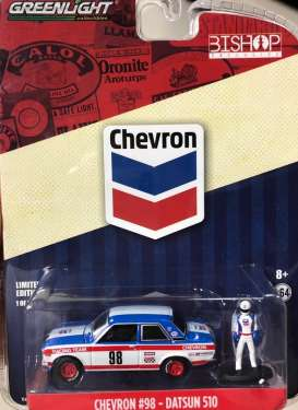 Datsun  - 510 #98 *Chevron* white/red/blue - 1:64 - GreenLight - 51194B - gl51194B | Tom's Modelauto's