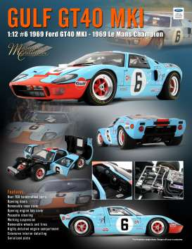 Ford  - GT40 MKI #6 1969 gulf blue/orange - 1:12 - Acme Diecast - M1201006 - acmem1201006 | Toms Modelautos